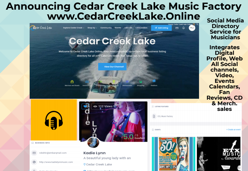 CedarCreekLake.Online debuts CCL Music Factory at ETX Music Awards Sept. 15