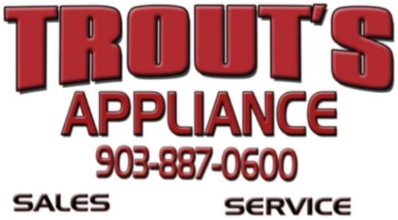 trouts appliance logo logo with sales and service number included