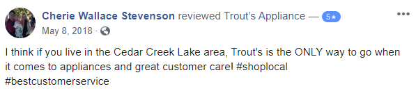 facebook review for trouts appliance