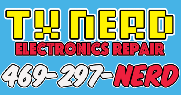 TX Nerd logo, TX Nerd electronic repair, logo with phone number, 469279nerd