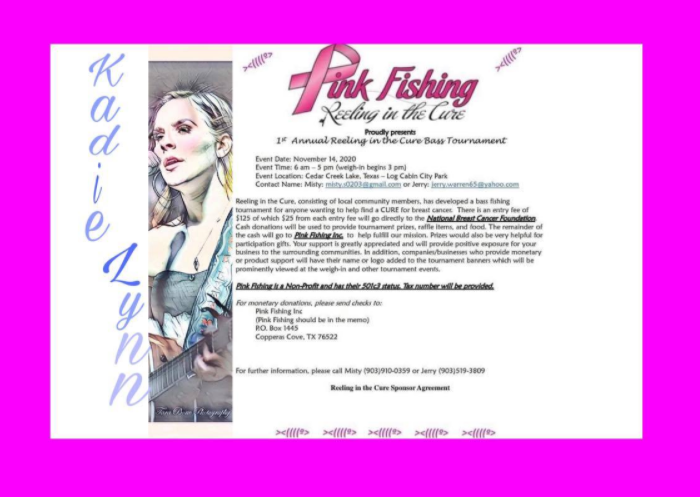pink fishing event poster cancer fundraiser poster