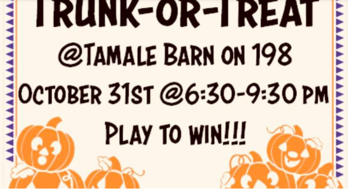 trunk or treat poster with pumpkins for October event