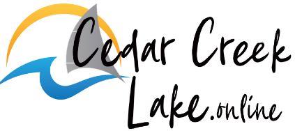 cedar creel lake online logo in white in cursive with logo behind text as Cedar Creek Lake Life Blog footer