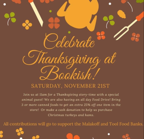 Thanksgiving at Bookish 1 bookish thanksgiving event CedarCreekLake.Online