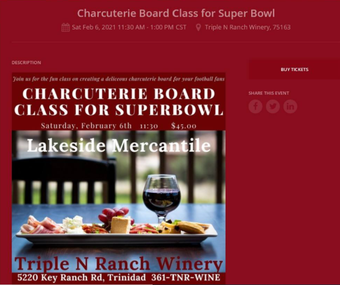 Superbowl Charcuterie Class at Triple N Ranch Winery